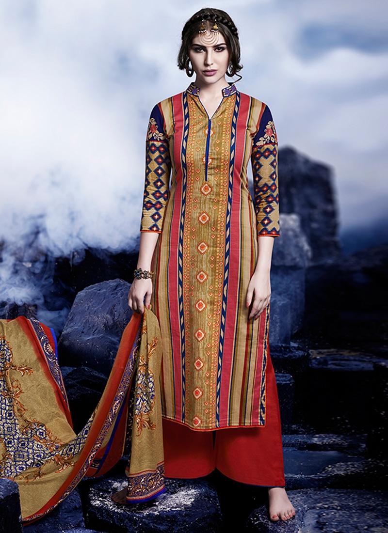 Gratifying Satin Palazzo Style Pakistani Suit