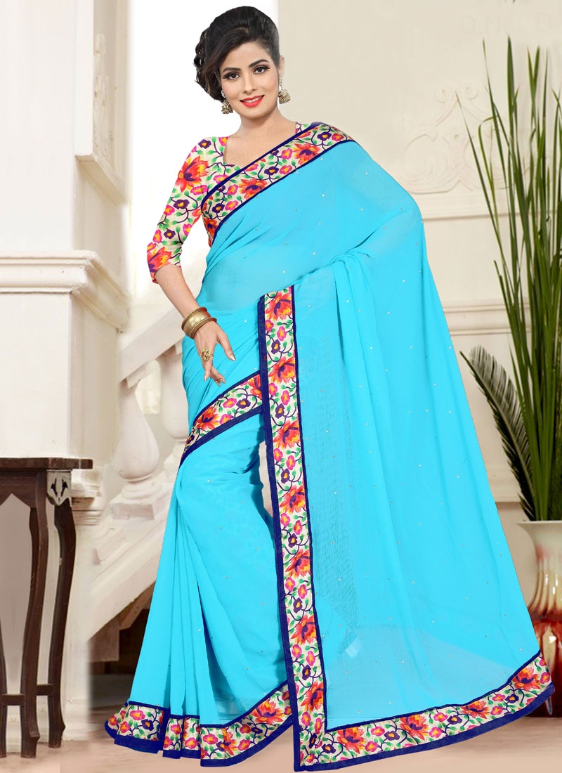 Gratifying Stone And Lace Work Casual Saree