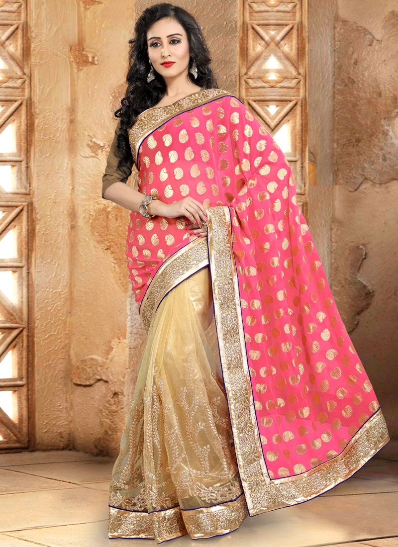 Gratifying Viscose And Net Half N Half Party Wear Saree