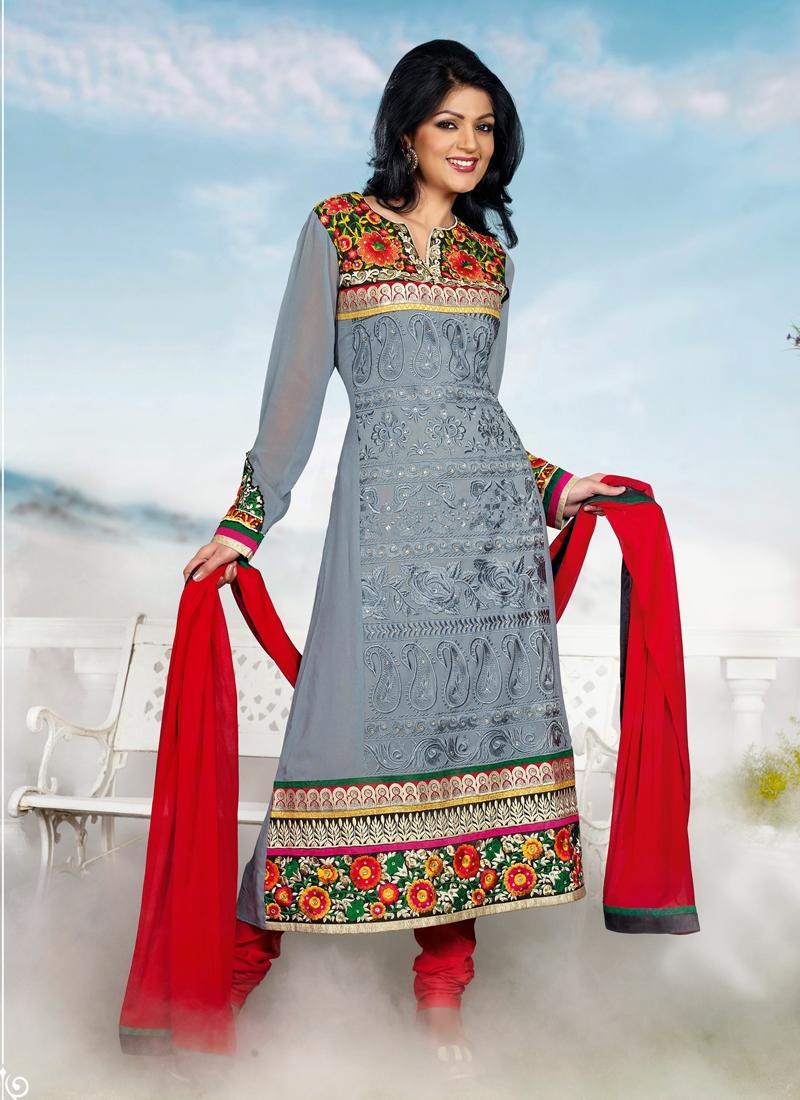 Gray Color Floral Work Party Wear Salwar Kameez