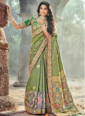 Green and Grey Banarasi Silk Contemporary Saree