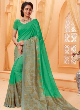 Green and Grey Bhagalpuri Silk Trendy Classic Saree