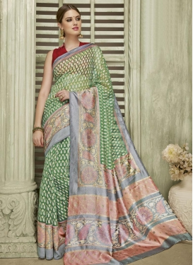 Green and Grey Contemporary Saree For Ceremonial