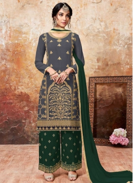 Green and Grey Embroidered Work Palazzo Designer Salwar Kameez
