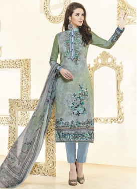 Green and Grey Pant Style Pakistani Suit