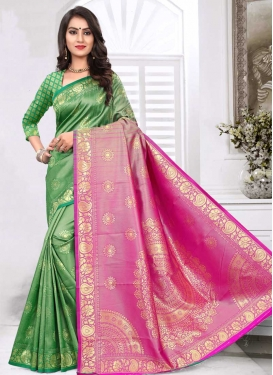 Green and Hot Pink Contemporary Style Saree For Ceremonial