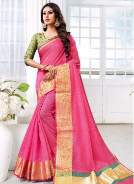 Green and Hot Pink Designer Contemporary Saree