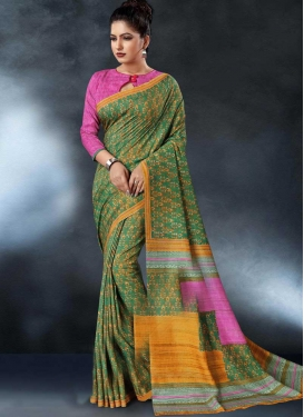 Green and Hot Pink Digital Print Work Classic Saree