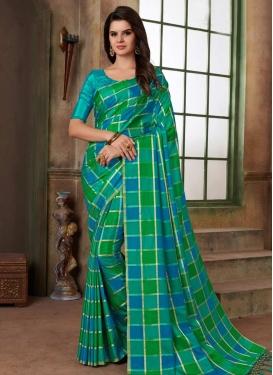 Green and Light Blue Contemporary Saree For Ceremonial