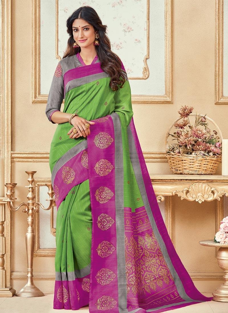 Green and Magenta  Contemporary Style Saree
