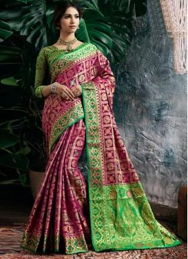 Green and Magenta Designer Contemporary Saree