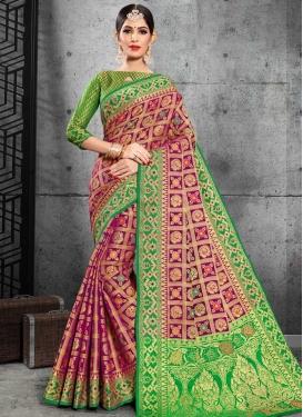 Green and Magenta Patola Silk Classic Saree