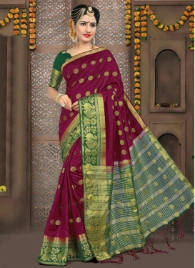 Green and Magenta Thread Work Contemporary Saree