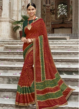 Green and Maroon Bandhej Print Work Classic Saree
