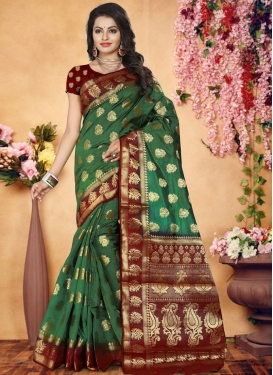 Green and Maroon Contemporary Style Saree For Ceremonial