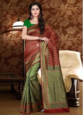 Green and Maroon Patola Silk Designer Half N Half Saree