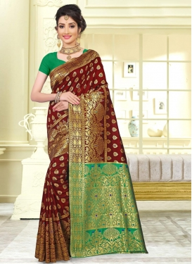 Green and Maroon Thread Work Trendy Saree