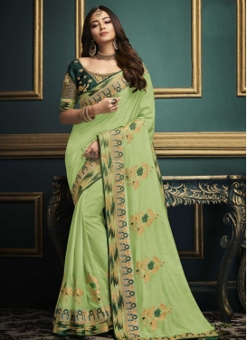 Green and Mint Green Embroidered Work Designer Contemporary Style Saree