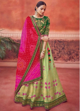 Green and Mint Green Embroidered Work Trendy A Line Lehenga Choli