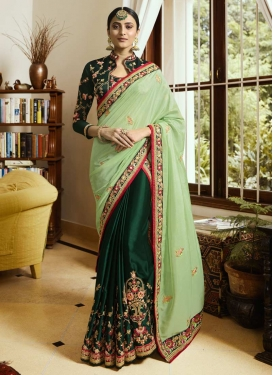 Green and Mint Green Half N Half Trendy Saree For Festival