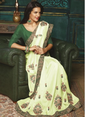 Green and Mint Green Silk Contemporary Style Saree
