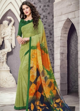Green and Mint Green Trendy Saree