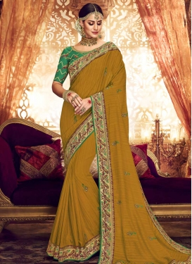 Green and Mustard Art Silk Traditional Designer Saree