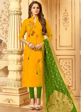 Green and Mustard Churidar Salwar Kameez