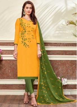 Green and Mustard Churidar Salwar Kameez For Casual