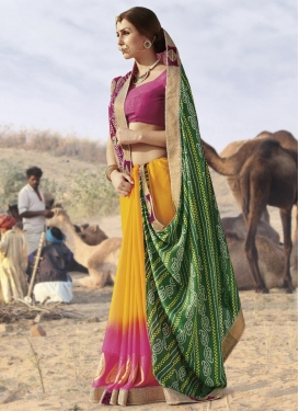 Green and Mustard Half N Half Trendy Saree For Festival