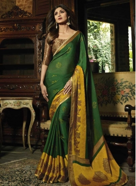 Green and Mustard Thread Work Shilpa Shetty Traditional Designer Saree