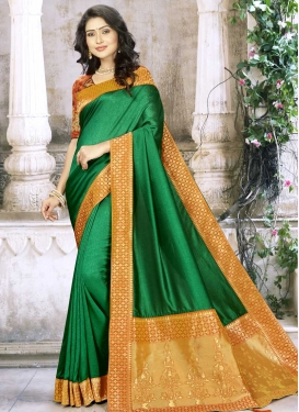 Green and Mustard Trendy Classic Saree