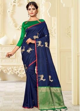 Green and Navy Blue Banarasi Silk Trendy Saree