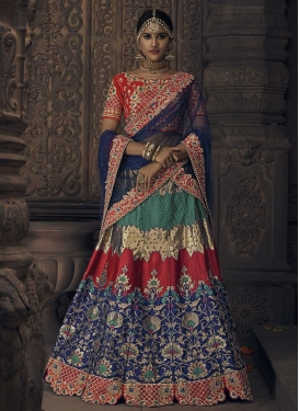 Green and Navy Blue Banglori Silk Designer A Line Lehenga Choli