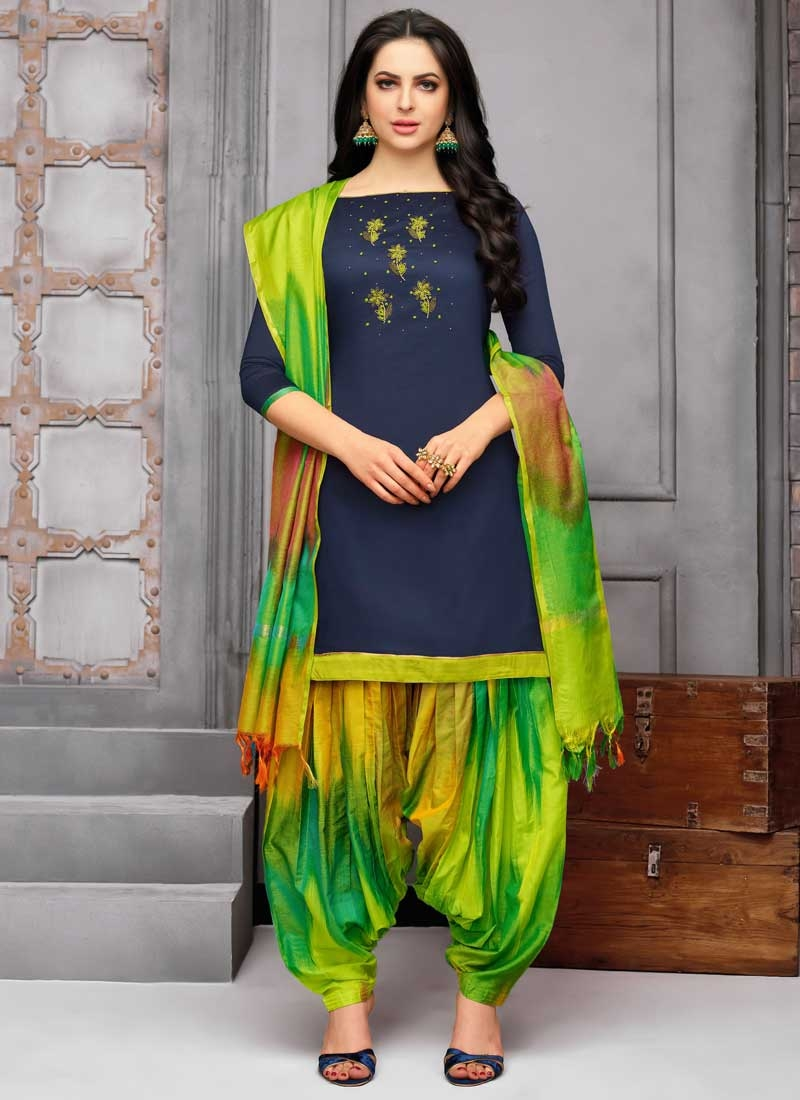 654328d97b1 Buy Green and Navy Blue Cotton Satin Semi Patiala Salwar Suit Online