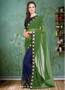 Green and Navy Blue Embroidered Work Half N Half Designer Saree