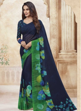 Green and Navy Blue Faux Georgette Designer Contemporary Saree