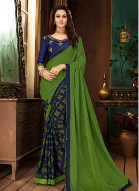 Green and Navy Blue Faux Georgette Half N Half Trendy Saree