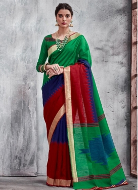 Green and Navy Blue Thread Work Contemporary Style Saree