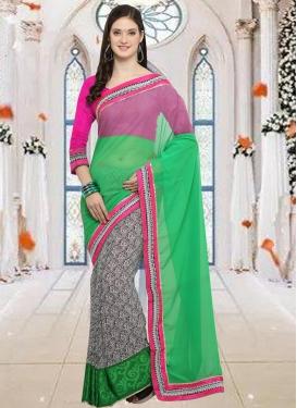 Green and Off White Lace Work Half N Half Designer Saree