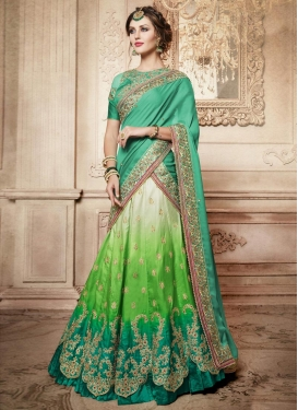Green and Off White Satin Silk Designer A Line Lehenga Choli