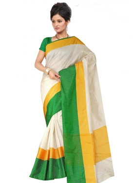 Green and Off White Trendy Classic Saree For Ceremonial