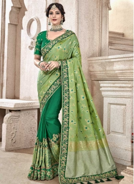 Green and Olive Banarasi Silk Designer Half N Half Saree For Bridal