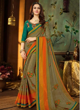 Green and Olive Embroidered Work Contemporary Style Saree