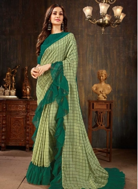 Green and Olive Trendy Designer Saree