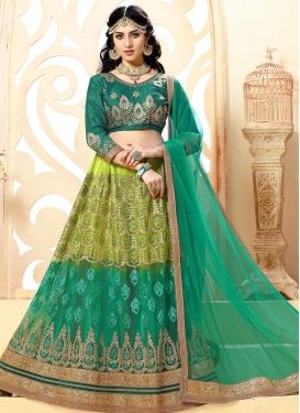 Green and Olive Trendy Lehenga Choli For Ceremonial