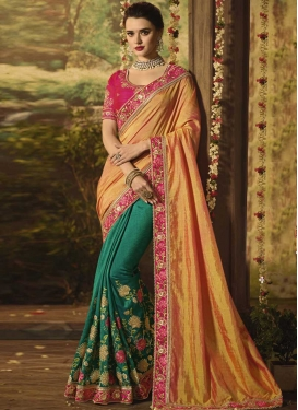 Green and Orange Art Silk Half N Half Saree