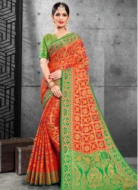 Green and Orange Designer Contemporary Style Saree For Ceremonial