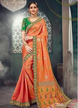 Green and Orange Designer Contemporary Style Saree For Festival