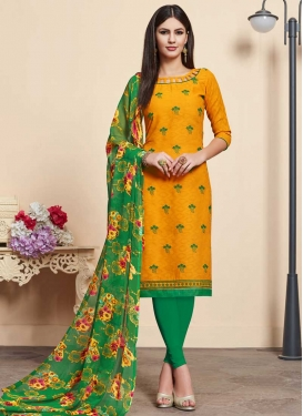 Green and Orange Embroidered Work Churidar Salwar Kameez